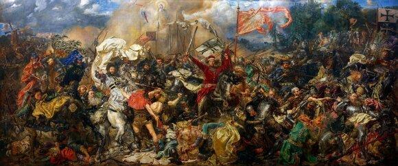 """Jano Mateikos 1878 m. nutapytame paveiksle """"Žalgirio mūšis"""" galima identifikuoti apie 90 to meto istorinių asmenybių, o pačiame centre – Vytautas Didysis"""