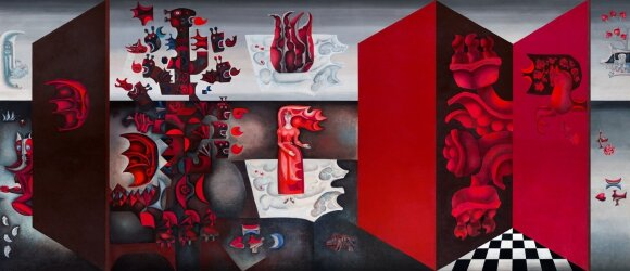 """MO bistro interjero akcentas – skaitmeniniu būdu atkurtos Algirdo STEPONAVIČIAUS ir Birutės ŽILYTĖS sieninės tapybos Naujųjų Valkininkų sanatorijoje """"Pušelė"""" fragmentai"""