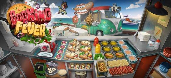 """Žaidimo """"Cooking Fever"""" restorano grafinis perėjimas nuo eskizo iki galutinio varianto"""