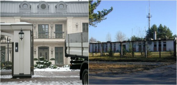 Anksčiau buvęs pastatas ir dabar stovintys rūmai