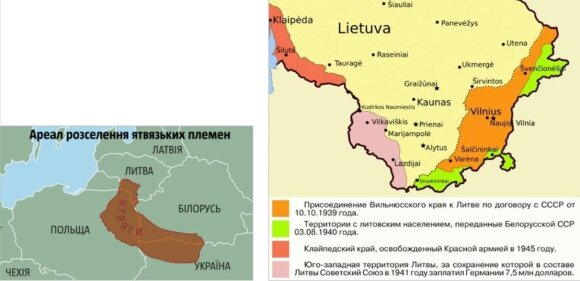 """Kairėje – išplėstinė """"Jotvos"""" versija (""""Jotva – 2""""). Dešinėje – teritorijos, kurias, anot N. Šeliagovičiaus, Lietuva privalanti """"grąžinti"""" Rusijai. Tai ne tik Vilniaus ir Klaipėdos kraštai, bet ir """"Jotvingių Rusia"""" (Pietvakarių Užnemunė, arba """"Jotva – 3"""")"""