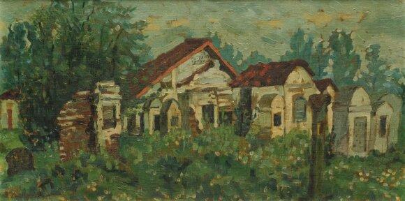 """Bencionas Cukermanas (Ben Zion Zuckerman, 1890–1944) - """"Žydų kapinės"""" (1919)"""