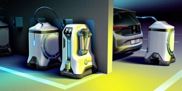 """Volkswagen"" elektromobilių įkrovimo robotas"