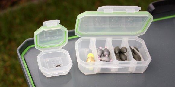 Dėžutės žvejybinėms smulkmenoms su guminėmis tarpine