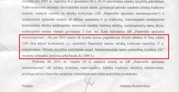 Tokį raštą iš Panevėžio savivaldybės gavo Sigitas