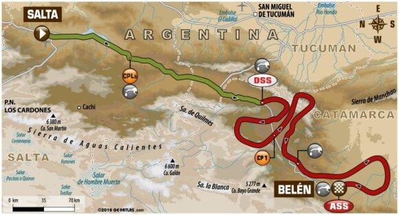 Dešimtojo Dakaro ralio etapo maršrutas