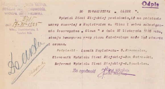 """Vilniaus magistrato nekilnojamo turto departamento, žemės skyriaus 1925 m. lapkričio 17 d. raštas bendrovei """"Oleum"""", kad jai leidžiama eksploatuoti benzino kolonėlę Katedros aikštėje"""