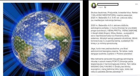 """Lietuvius kviečia """"atverti portalą"""": ne, masinė meditacija neapsaugos nuo koronaviruso"""