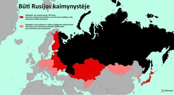 Rosja i okupacja państw sąsiednich. Foto: mapijoziai.lt