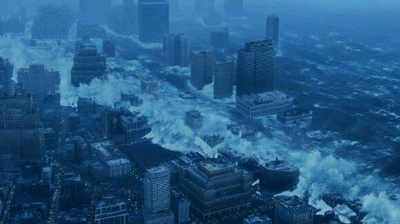 """Cunamis nušluoja Niujorką - kadras iš filmo """"Diena po rytojaus"""""""