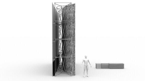 Lietuvos erdvės agentūros laboratorijos reflektoriaus konstrukcija (2021) © Julijonas Urbonas ir Vladas Suncovas