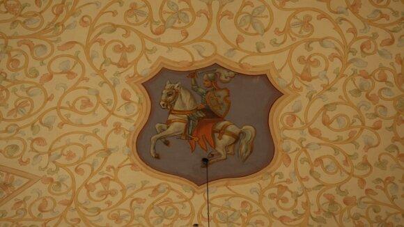 Lietuvos ir Lenkijos valstybės herbais išpuošti Merkinės bažnyčios skliautai
