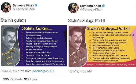 Kremliaus agentė Vašingtone prisikalbėjo: atsirūgo Stalino šlovinimas