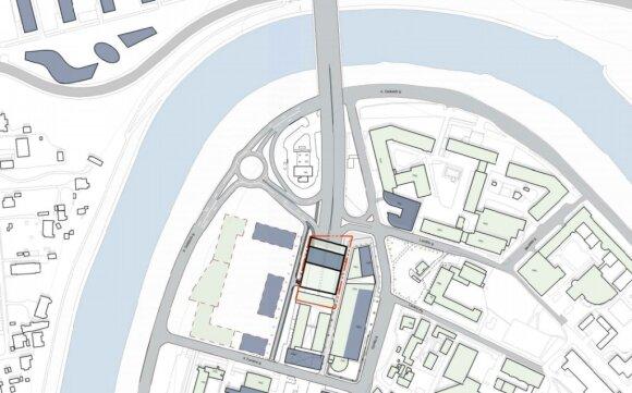 Virš Geležinio Vilko gatvės norima statyti 16-os aukštų verslo centrą