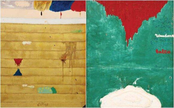 Linas Leonas KATINAS. Autobiografija. 1971. Kartonas, aliejus; Linas Leonas KATINAS. Projektas erdvei, kurios raudona spalva krisdama virsta balta. 1971