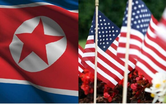 Šiaurės Korėjos ir JAV vėliavos, Shutterstock/DELFI nuotr.