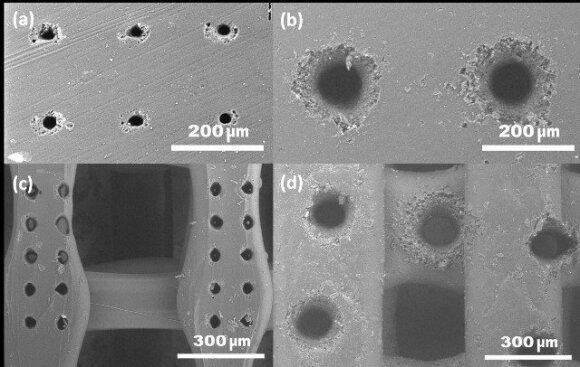 5 pav. Femtosekundine šviesos gija išgręžtos skylės PLA plėvelėje ir 3D spausdintame mikrodarinyje.