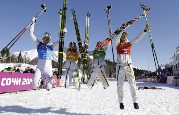 Švedijos slidinėjimo moterų komanda - olimpinė čempionė