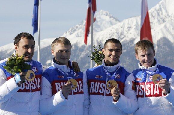 Sočyje triumfavusi, bet diskvalifikuota Rusijos bobslėjaus komanda (Aleksejus Vojevoda – dešinėje)