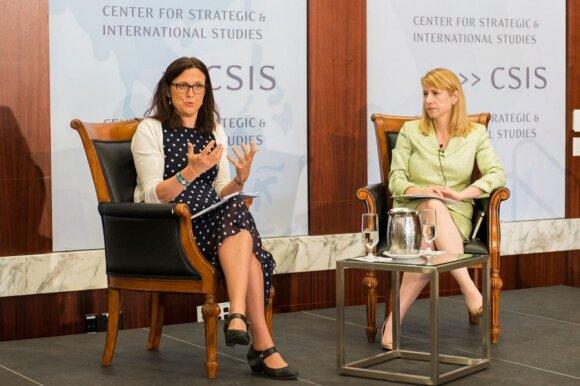Commissioner Cecilia Malmström with moderator Heather Conley of CSIS  Photo Ludo Segers
