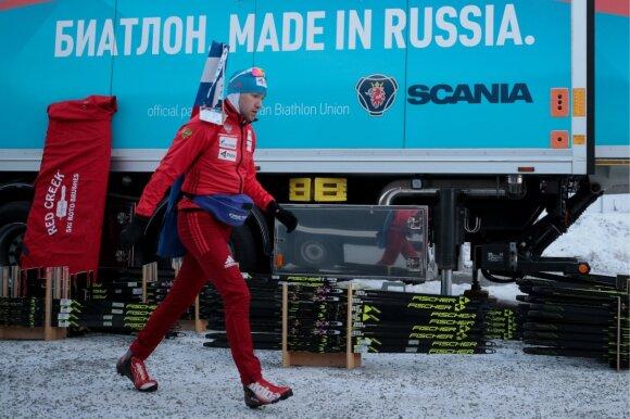 Rusijos biatlono rinktinės slidžių serviso sunkvežimis