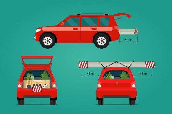 Kaip vežti krovinį, kuris užsikiša už automobilio gabaritų