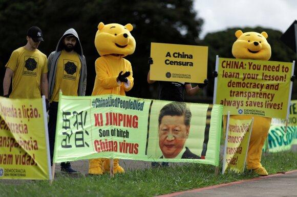 Protestai prieš Kinijos reakciją į koronavirusą Brazilijoje