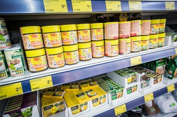 maisto produktai, prekės, parduotuvė, maxima, sultinys,