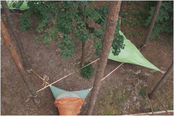 Palapinės medžiuose Ignalinoje