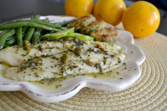 Žuvis, troškinta žaliajame petražolių padaže