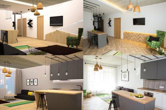 Vizualizacijos (kairėje) ir jau sukurtas interjeras (dešinėje)