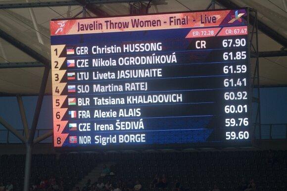 Europos lengvosios atletikos čempionato finale ieties metikė Liveta Jasiūnaitė iškovojo bronzą