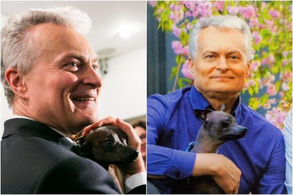 Gitanas Nausėda su šuneliu Grikiu