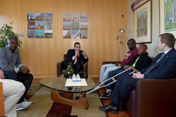 FLTR Wilfrid Macena, Ambassador Pavilionis, Mackenson Pierre, Sandy Louiseme and Szymon Czyszek of the Knights  Photo Ludo Segers