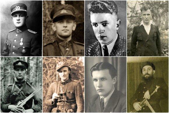 Deklaraciją pasirašę partizanai. Iš kairės (slapyvardžiais): Vytautas, Vanagas, Žadgaila, Užpalis, Faustas, Kardas, Merainis. Okupacijų ir laisvės kovų muziejaus nuotr.