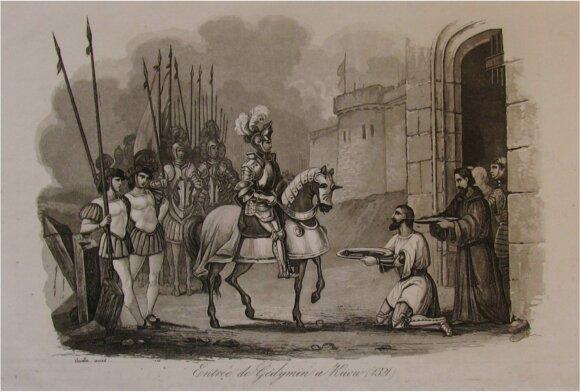 Gediminas įžengia į Kijevą ( Entreé de Gedymin a Kiew  - 1321 m. ). Nežinomo autoriaus klasicistinio stiliaus litogafinis piešinys iš lenkų istoriko, kartografo, Vilniaus universiteto auklėtinio Leonardo Chodzkos (Leonard Borejko Chodźko ;1800–1871) leidi