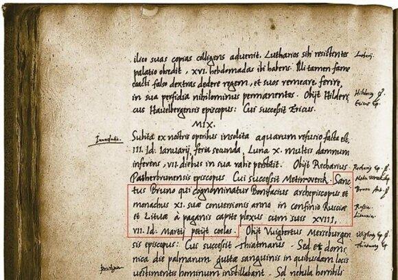 Kvedlinburgo analų (1009), kuriuose paminėtas Lietuvos vardas, nuorašas // mdl.projektas.vu.lt nuotr.