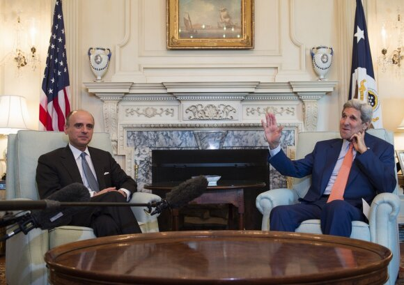 Saudo Arabijos užsienio reikalų ministras Adelas al Jubeiras, JAV valstybės sekretorius Johnas Kerry