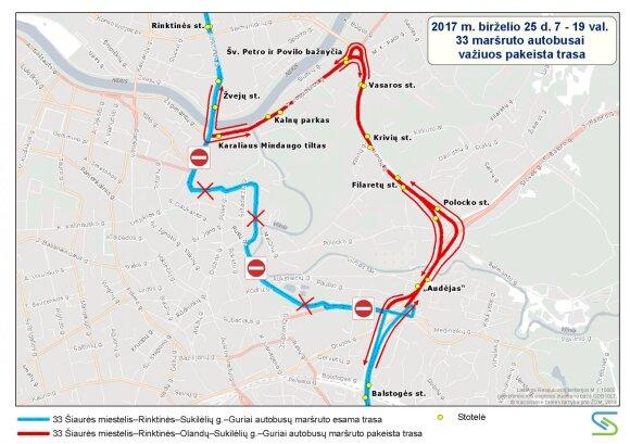 33 maršruto autobuso trasa