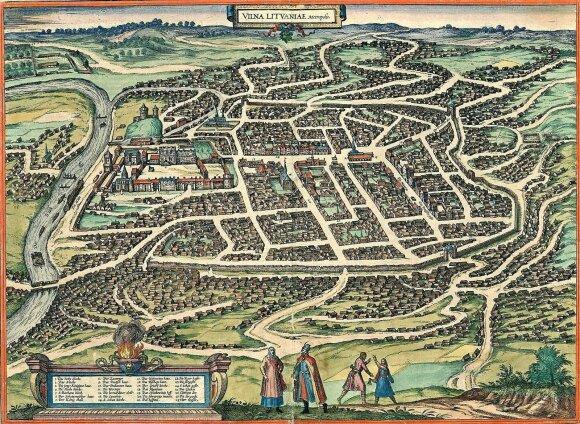 Vilnius – Lietuvos metropolis. Kartografas G. Braunas, 1576 // gidas.mb.vu.lt nuotr.