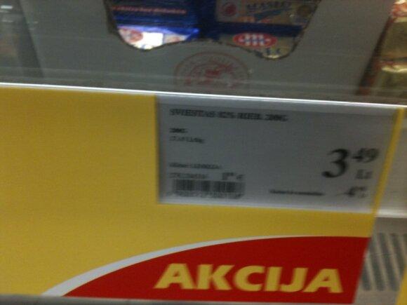 Įprasta prekės kaina per akciją išaugo