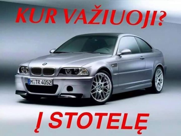 Interneto trolių sukurtas memas apie BMW ir stoteles