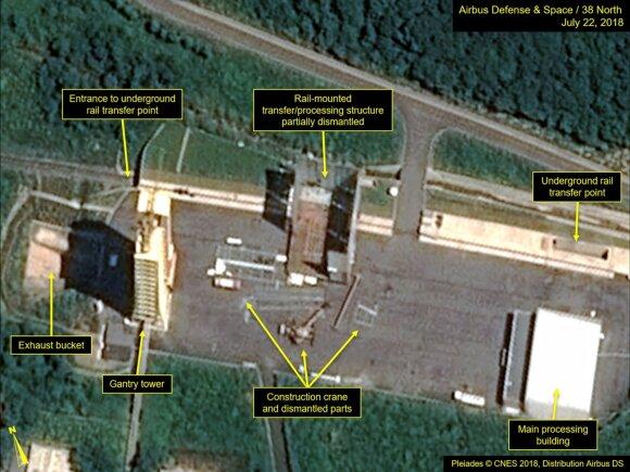 Išardoma Šiurės Korėjos raketų paleidimo aikštelė