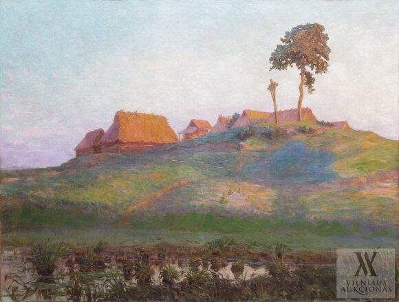 """Antanas Žmuidzinavičius. """"Dzūkų kaimelis' (1910 m.)"""