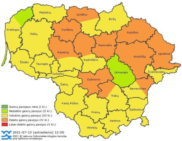 Liepos 13 d. paskelbtas gaisringumo žemėlapis