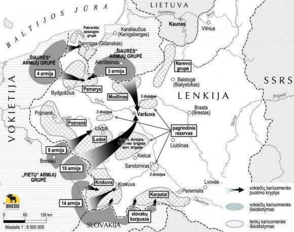 """Vokiečių """"Lenkijos kampanija"""".  Vokietijos ir Lenkijos pajėgų išsidėstymas 1939 m. rugpjūčio 31 d.  bei tolesni Vokietijos puolimo planai, leidyklos """"Briedis"""" nuotr."""