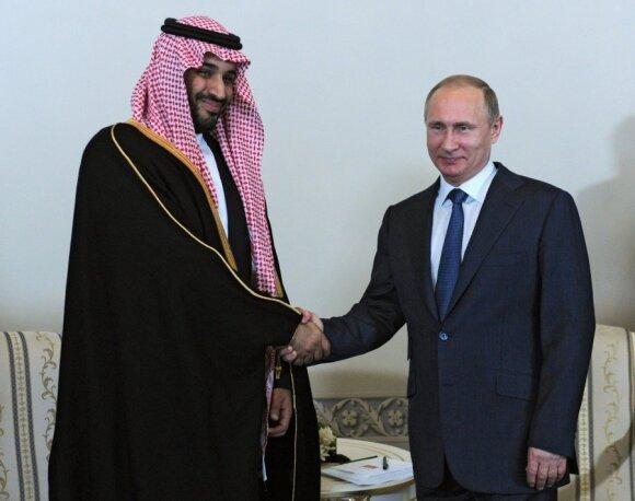 Vladimiras Putinas ir Saudo Arabijos princas Mohammedas Bin Salmanas