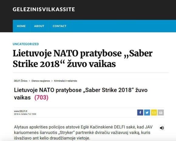 """Propagandinė naujiena apie NATO šarvuočių avariją, tinklaraštis """"Geležinis Vilkas Site"""""""