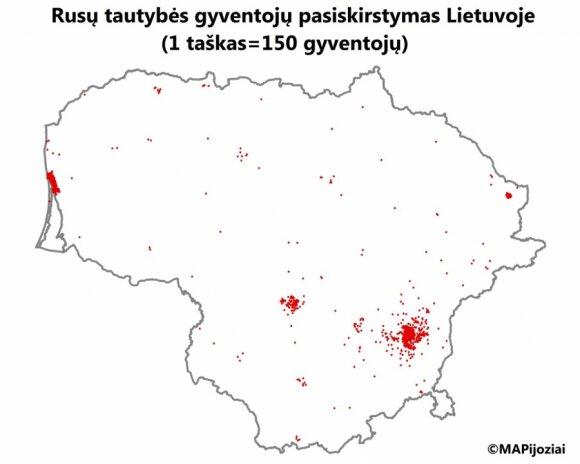 Rosjanie na Litwie. Foto: mapijoziai.lt