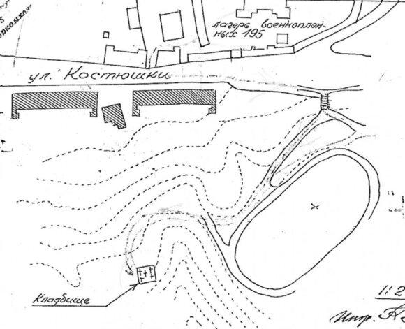 Kalnų parko ir šalia jo esančio 195 belaisvių lagerio planas. Kvadratu su kryžiais pažymėtos belaisvių kapinės.